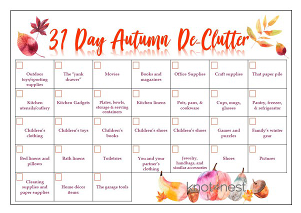 Use this free, printable 31 day declutter plan to get your home in order for autumn