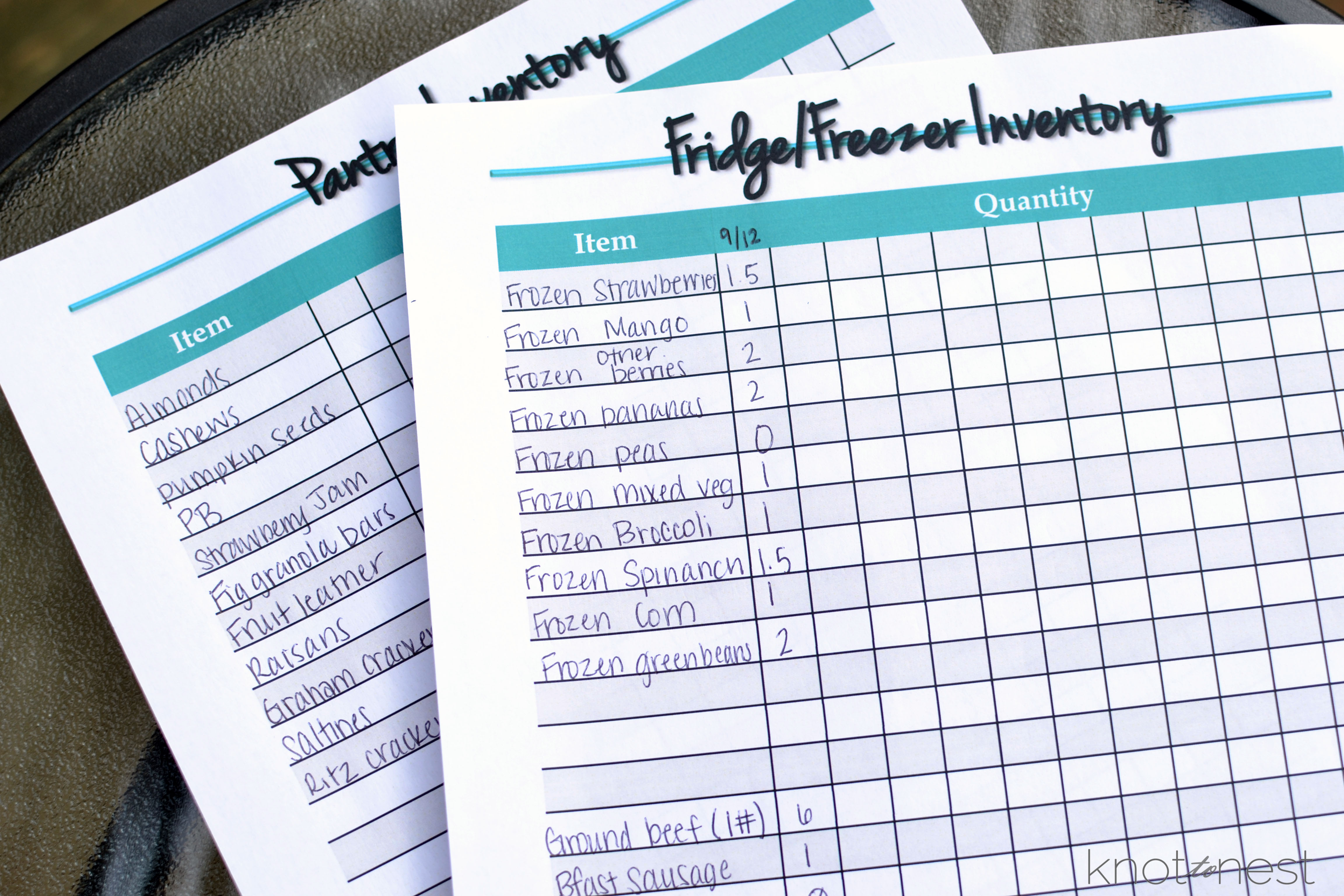 Save money and time with meal planning by using these inventory sheets